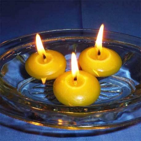 3 bougies flottantes en cire d'abeille