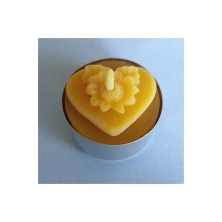 Bougie chauffe-plat en cire d'abeille Cœur Fleuri