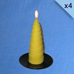 Lot de 4 bougies torsadées en cire d'abeille naturelle 4,5x13cm