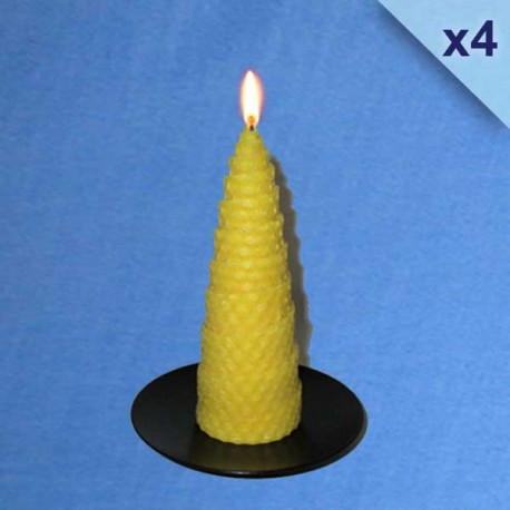 4 twisted beeswax candles 4,5x13cm