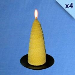 Lot de 4 bougies torsadées en cire d'abeille naturelle 5,5x13cm