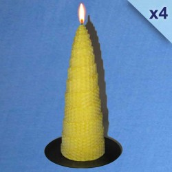 4 twisted beeswax candles 5,5x20cm
