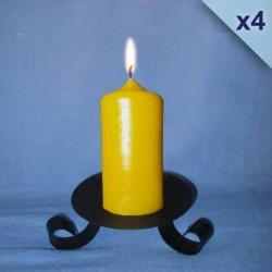 Lot de 4 bougies en cire d'abeille piliers 4,5x10cm