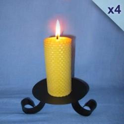 Lot de 4 bougies piliers gaufrés 4,5x13cm