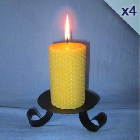 4 beeswax sheet comb pillar candles 5,5x13cm