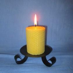 bougie-cire-abeille-pilier-gaufré-5-5x10