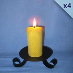 Lot de 4 bougies en cire d'abeille piliers gaufrés 4,5x10cm