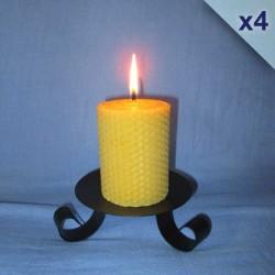 Lot de 4 bougies en cire d'abeille piliers gaufrés 5,5x10cm