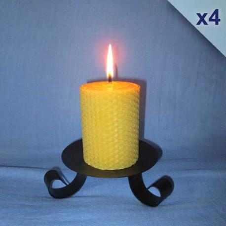 4 beeswax sheet comb pillar candles 5,5x10cm