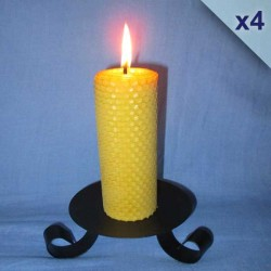 Lot de 4 bougies en cire d'abeille piliers gaufrés 4,5x20cm
