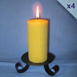 Lot de 4 bougies en cire d'abeille piliers gaufrés 5,5x20cm