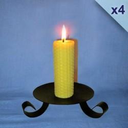 Lot de 4 bougies piliers gaufrés 3x13cm