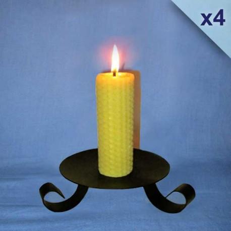 bougies-cire-abeille-piliers-gaufrés-3x13