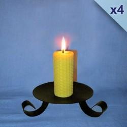Lot de 4 bougies en cire d'abeille piliers gaufrés 3,5x10cm