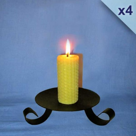 4 beeswax sheet comb pillar candles 3,5x10cm