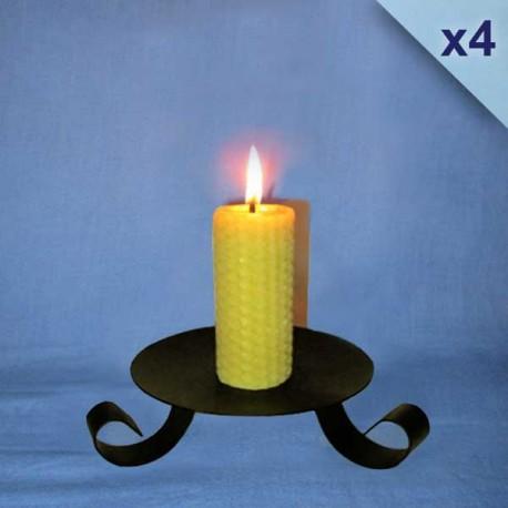 bougies-cire-abeille-piliers-gaufrés-3-5x10