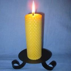 Bougie en cire d'abeille pilier gaufré 4,5x26cm