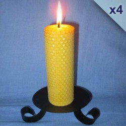 4 beeswax sheet comb pillar candles 4,5x26cm