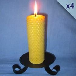 Lot de 4 bougies en cire d'abeille piliers gaufrés 4,5x26cm
