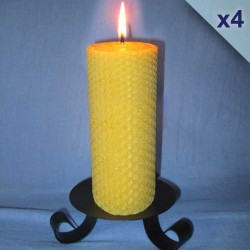 Lot de 4 bougies en cire d'abeille piliers gaufrés 5,5x26cm