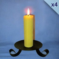 4 beeswax sheet comb pillar candles 3,5x20cm