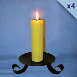 Lot de 4 bougies en cire d'abeille piliers gaufrés 3,5x20cm