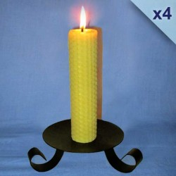4 beeswax sheet comb pillar candles 3x26cm