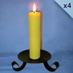Lot de 4 bougies en cire d'abeille piliers gaufrés 3x26cm