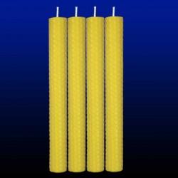 4 bougies chandelles en cire d'abeille 2x26cm