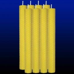 8 bougies chandelles en cire d'abeille 2x26cm