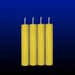 4 bougies chandelles en cire d'abeille 2x13cm