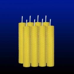 8 bougies chandelles en cire d'abeille 2x13cm
