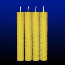 4 bougies chandelles en cire d'abeille 2,5x20cm