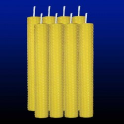 8 bougies chandelles en cire d'abeille 2,5x20cm