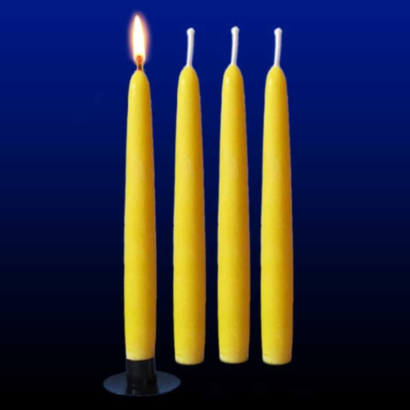 4 bougies chandelles lisses moul es en cire d 39 abeille l 39 alchimie des bougies. Black Bedroom Furniture Sets. Home Design Ideas