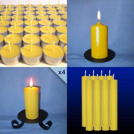 lot-assortiment-bougies-cire-abeille