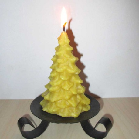 Christmas tree shaped beeswax candle