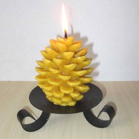 Beeswax candle large pine cone