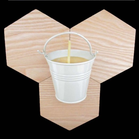 Beeswax candle in white bucket 2