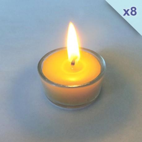 Lot de 8 bougies chauffe-plat en cire d'abeille dans support en verre