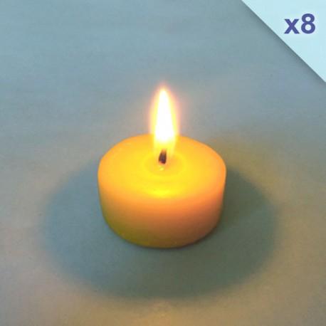 Lot de 8 recharges bougies chauffe-plats pour support en verre
