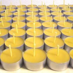 Lot de 50 bougies chauffe-plat en cire d'abeille