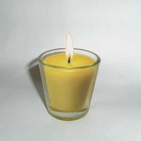 Beeswax candle in glass pot